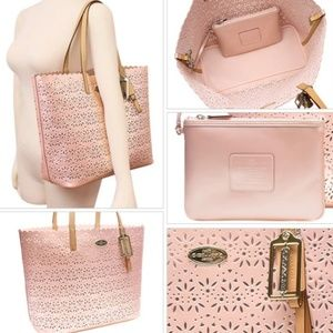 Coach shell pink leather tote F35716